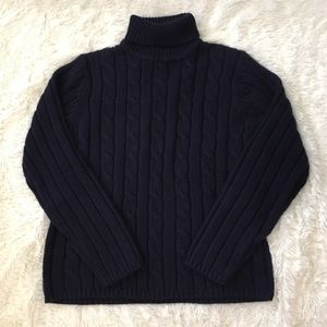 Chunky Navy Turtle Neck Sweater